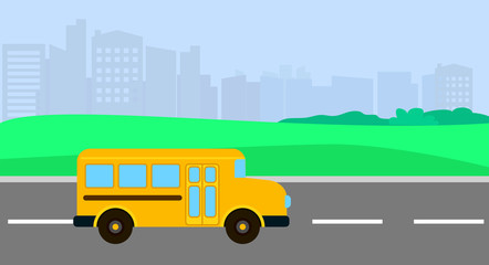 Bus driving to school background. Flat illustration of bus driving to school vector background for web design