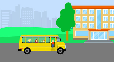 School bus with kids background. Flat illustration of school bus with kids vector background for web design