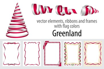 vector elements, ribbons and frames with flag colors Greenland, template for your certificate and diploma