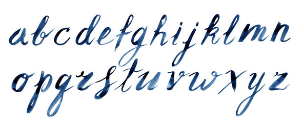 Blue watercolor hand drawn lower case letters font alphabet for decor a postcards, posters, lettering, invitations and etc.