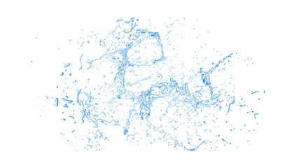 Isolated blue splash of water splashing on a white background. 3d illustration, 3d rendering. Wall mural