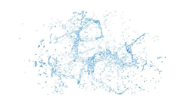 Isolated blue splash of water splashing on a white background. 3d illustration, 3d rendering.