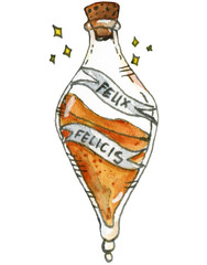 Watercolor and ink illustration of Felix Felicis potion. Hand drawn object.
