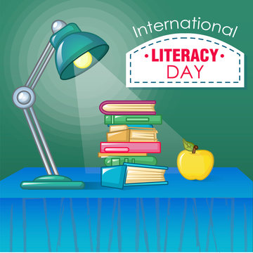 International literacy day concept background. Cartoon illustration of international literacy day vector concept background for web design