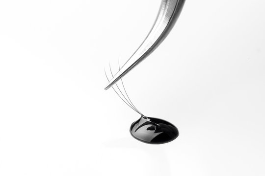 Master of eyelash extensions works with tweezers, forms bundle from pallet