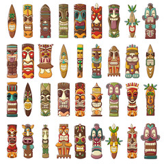 Tiki idols icon set. Cartoon set of tiki idols vector icons for web design
