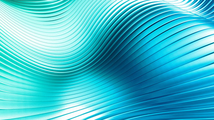 Sky-blue beautiful colorful 3d background with smooth lines and waves of metal. 3d illustration, 3d rendering.