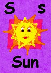 S is for sun. Watercolour cartoon painting of a smiling sun. Letter S, ABC kids wall art. Alphabet flashcard, nursery poster, playroom decor. Vibrant colours with a purple background.