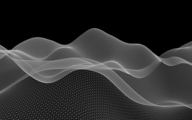Abstract landscape on a dark background. Cyberspace grid. Hi-tech network. 3D illustration