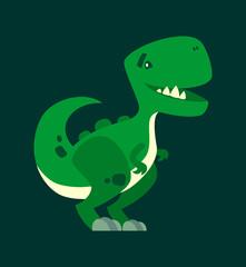 Cute smiling dinosaur. Green dino character mascot