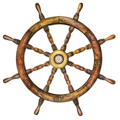 Vintage wooden ship steering wheel isolated on white