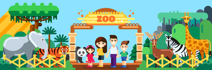 Happy family in zoo, vector flat style illustration. Weekend in park, leisure outdoor concept