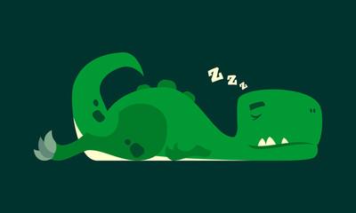 Cute sleeping dinosaur. Dino rex cartoon character