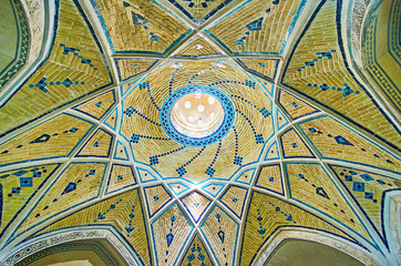 Relief brick dome of cloakroom of Qasemi Bath, Kashan, Iran
