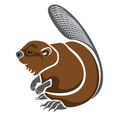 Vector isolated illustration of a brown river beaver