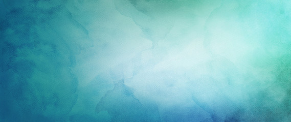 blue green and white watercolor background with abstract cloudy sky concept with color splash design and fringe bleed stains and blobs