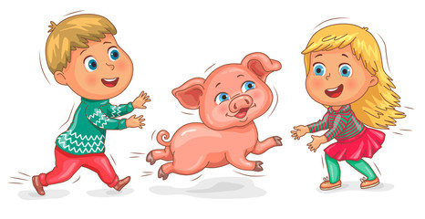 Cute kids and little piggy