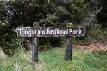 Rustic Tongariro National Park sign