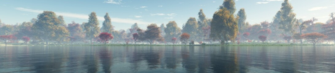 Beautiful autumn landscape. Autumn trees over the water. Panorama of the autumn landscape.