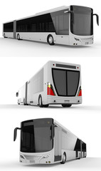 Set large city bus with an additional elongated part for large passenger capacity during rush hour or transportation of people in densely populated areas. Model template for placing your images and