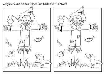 Herbstliches Fehlerbild mit Vogelscheuche, Vögeln und Blättern