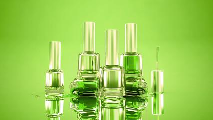 Green Happy summer stylish background with bottles of nail polish. Fashion, makeup, manicure, beauty.