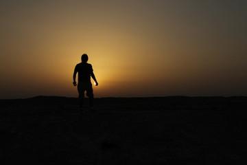 silueta sol atardecer