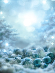 Fantastic abstract background for new year and Christmas with snow and Christmas toys