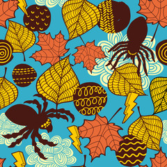 Seamless wallpaper with spiders and autumn leaves.