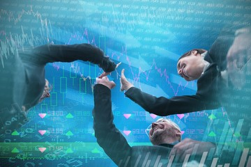 Composite image of low angle view of business people giving high