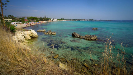Wall Mural - Beautiful beach with transparent sea in Sicily, Italy.