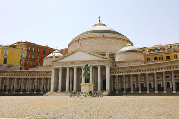 Garden Poster Napels Beautiful view of Piazza del Plebiscito square, Naples, Italy