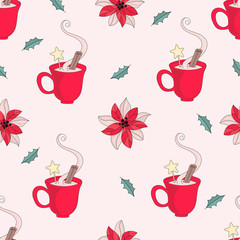 Merry Christmas Seamless Pattern CHRISTMAS MUG Color Vector Illustration Set for Digital Print, Holidays, Wall Decorations, Scrapbooking, Photo Album Design and Digital Paper