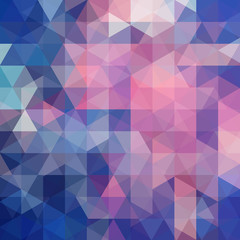 Background of blue, pink geometric shapes. Abstract triangle geometrical background. Mosaic pattern. Vector EPS 10. Vector illustration
