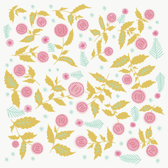 Roses Barocco flowers abstract pattern. Retro victorian detailed classical background.