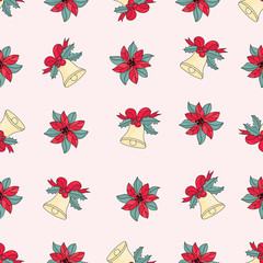 Merry Christmas Seamless Pattern PINK JINGLE BELLS Color Vector Illustration Set for Digital Print, Holidays, Wall Decorations, Scrapbooking, Photo Album Design and Digital Paper