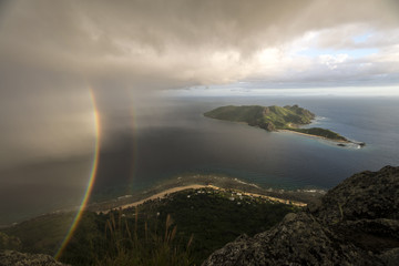 Double Rainbow and Stormclouds over Fijian islands (wide angle)