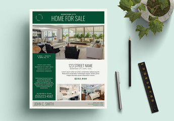 Real Estate Flyer Layout with Hunter Green Accents