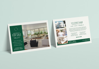 Real Estate Postcard Layout with Hunter Green Accents