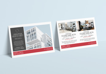 Real Estate Postcard Layout with Red Accents