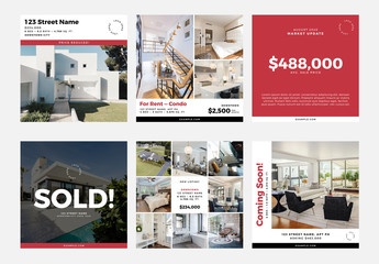 Realtor Social Media Post Layout Set with Red Accents
