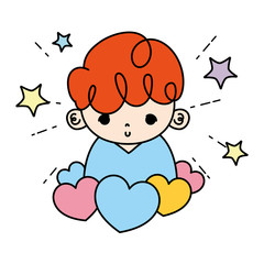 color cute boy child with hearts and stars