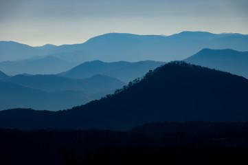 Misty view of the Blue Ridge Mountain Range from Cullowhee, North Carolina, USA.