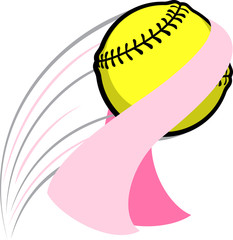Softball swooping through the air with a Breast Cancer Awareness pink ribbon caught on it.
