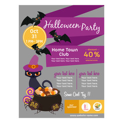 cute halloween poster with cat flat style
