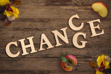 """word """"change"""" turns into """"chance"""" on a seasonal  autumn background"""