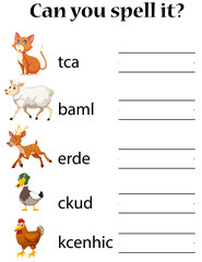 English animal spell worksheet