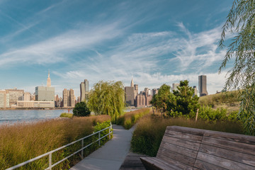 Manhattan skyline from new Hunters point park in the beautiful early morning.