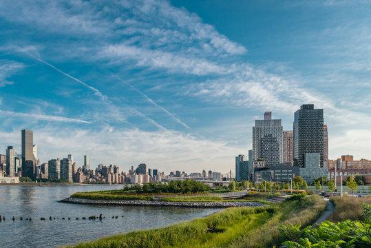 Long Island City residential buildings in the early hot summer morning. Modern neighbourhood. Beautiful green Gantry park