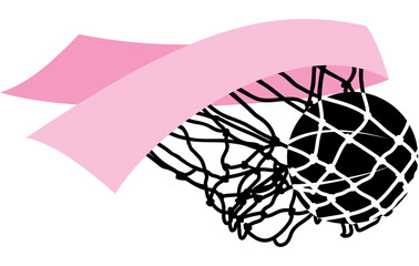 Basketball swishing through a Breast Cancer Awareness pink ribbon and net.